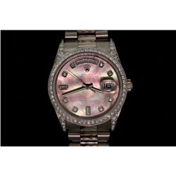 WATCH: [1] Gents 18kwg Rolex Oyster Perpetual Day Date wristwatch, 36mm diameter with diamond dial a