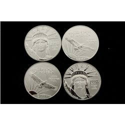 COINS: [4] $100 U.S. Liberty .9995 platinum coins, 1 Troy oz, 1998.