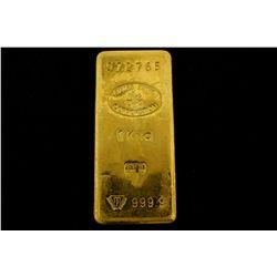 BULLION: [1] One kilogram Suisse Bank Corporation .9999 fine gold bar.