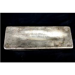 BULLION: [1] Johnson Matthey 998.20 Troy oz, .999 silver bar, 2003.
