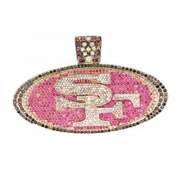 PENDANT:  [1] 14KYG 'SF' pendant set with 8 marquise rubies, approx. 0.75 cttw., 537 diamonds, appro