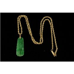 NECKLACE:  [1] 14KYG diamond cut rope chain, 2.3mms in diameter; and a carved mottled green jadeite