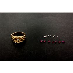 LOOSE STONES:  [8] marquise cut rubies, 1 is broken; 0.96 cttw.   LOOSE STONES:  [7] Round cut diamo