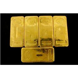 BULLION: [5] One kilogram Johnson Matthey .9999 fine gold bars.