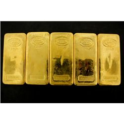 BULLION: [5] One kilogram Johnson Matthey .9999 fine gold bars.