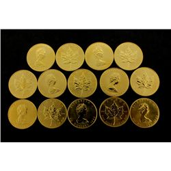 COINS: [14] $50 Canadian Maple Leaf gold coins, .9999, 1 Troy oz, 1983.