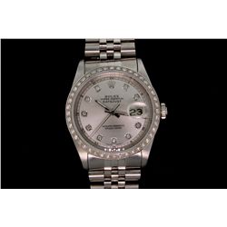 WATCH: [1] Mens st.steel Vintage Rolex O.P. Datejust wristwatch w/ aftmkt diamond apptmnts; 18kw bez