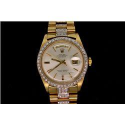WATCH: [1] Mens 18ky Vintage Rolex O.P. Day Date wristwatch w/ aftmkt diamond apptmnts & bracelet; 1