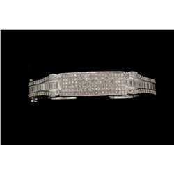 BRACELET:  [1] 14KWG hinged bangle bracelet set with round, baguette and princess cut diamonds, appr