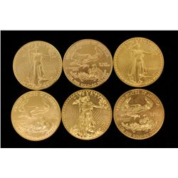 COINS: [6] American Eagle $50 1 oz Fine gold coins uncirculated. (1) 1987 (1) 1998 (1) 1999 (1) 1986