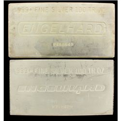 BULLION: [1] 100 oz. Engelhard 999+ Fine Silver bar. 3114 g. P468649.BULLION: [1] 100 oz. Engelhard
