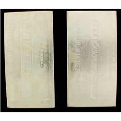 BULLION: [1] 100 oz. Engelhard 999+ Fine Silver bar. 3114 g. P293536.BULLION: [1] 100 oz. Engelhard