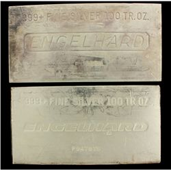 BULLION: [1] 100 oz. Engelhard 999+ Fine Silver bar. 3114 g. P185201.BULLION: [1] 100 oz. Engelhard