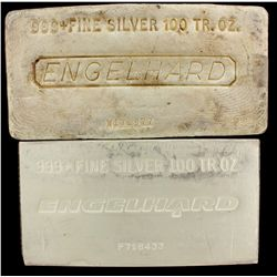BULLION: [1] 100 oz. Engelhard 999+ Fine Silver bar. 3114 g. W171977.BULLION: [1] 100 oz. Engelhard