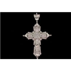 "PENDANT: [1] Mens 14kw ""invisible"" set diamond cross pendant; 241 prin dias, 1.0mmx1.1mm to 1.1mmx1."