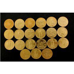 COINS: [21] $50 American Eagle gold coins, 1 oz, 1987
