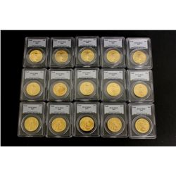 COINS: [15] $50 American Eagle gold coins, 1 oz, slabbed and graded PCGS MS69, 2002