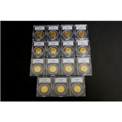 COINS: [15] $25 American Eagle gold coins, 1/2 oz, slabbed and graded PCGS MS69, 2002