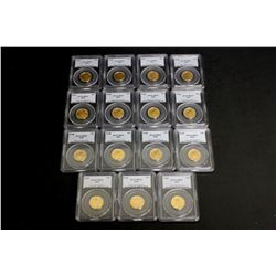 COINS: [15] $10 American Eagle gold coins, 1/4 oz, slabbed and graded PCGS MS69, 2002