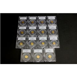 COINS: [15] $5 American Eagle gold coins, 1/10 oz, slabbed and graded PCGS MS69, 2002