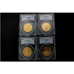 COINS: [4] $50 American Eagle gold coins, 1 oz, slabbed and graded PCGS MS69, 1998