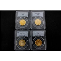 COINS: [4] $25 American Eagle gold coins, 1/2 oz, slabbed and graded PCGS MS69, 1998