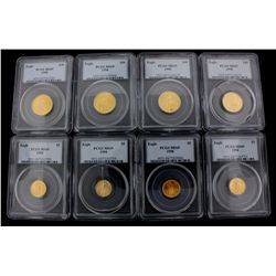 COINS: [4] $10 American Eagle gold coins, 1/4 oz, slabbed and graded PCGS MS69, 1998.COINS: [4] $5 A