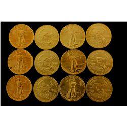 COINS:(12) $25 American Eagle gold coins, 1/2 oz, 1986