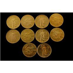 COINS: [10] $10 American Eagle gold coins, 1/4 oz, 1986.
