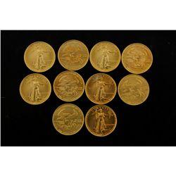 COINS: [10] $5 American Eagle gold coins, 1/10 oz, 1987.