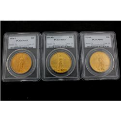 COINS: [3] U.S. $20 gold coins, 1914-S, graded and slabbed PCGS MS63.