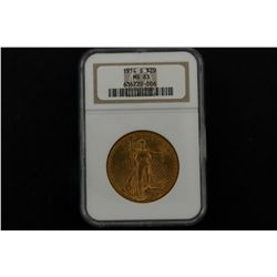 COIN: [1] $20 U.S. gold coin- 1914-S, .900 purity, .9675 Troy oz AGW, ANA graded and slabbed MS63.