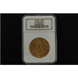 COIN: [1]  $20 U.S. gold coin- 1923, .900 purity, .9675 Troy oz AGW, ANA graded and slabbed MS63.