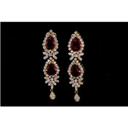 "EARRINGS: [1] Pair 18kyg dia and rubellite earrings 2"" long set with (4) pear shaped rubellite tourm"