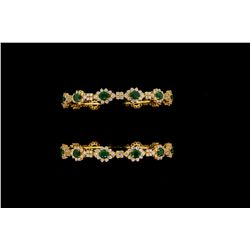 BRACELETS:  [2] Sets of 22kyg emerald and diamond bangles. Each with (13) 5.00mm x 4.00mm oval facet