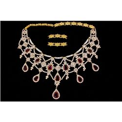 "NECKLACE: [1] 18kyg Rubellite tourmaline and dia necklace 18"" to top. Set with (63) baguette dias (8"