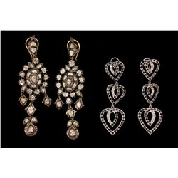"EARRINGS: [1] Pair silver topped 18kyg dia Polki earrings. 3 1/2"" long. Kundan style, set with (58)"