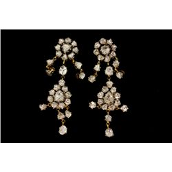 "EARRINGS: [1] Pair 18kg silver topped Kundan Polki style pendant earrings 2 1/2"" long set with (56)"