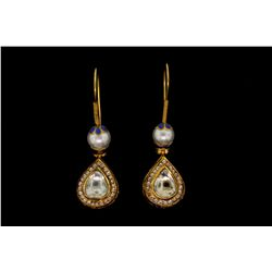 EARRINGS: [1] Pair 18kyg dia and cultured pearl Jaipuri earrings 2 1/2  long with a 9.0mm South Sea