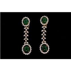 EARRINGS: [1] Pair 18kyg emerald and dia earrings set with (4) oval cabochon emeralds commercial to