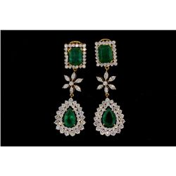 EARRINGS: [1] Pair 18kyg emerald and dia earrings 1 1/4  long set with (2) emerald cut emeralds and