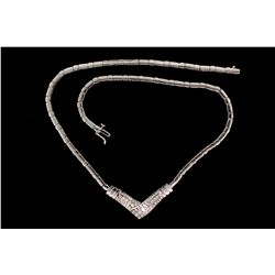 NECKLACE: [1] Ladys 14kw diamond necklace; 52 rb dias, 1.5mm to 2.3mm = est 1.50cttw, Fair-Good/J-L/