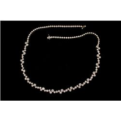 NECKLACE: [1] Ladys 14kw diamond link necklace; 78 rb dias, 2.1mm to 2.5mm = est 3.25cttw, Fair/L-O/