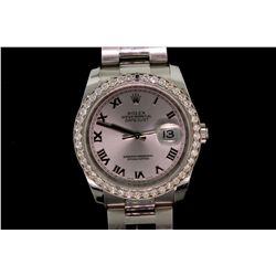 WATCH: [1] Mens st.steel Rolex O.P. DateJust wristwatch w/ aftmkt diamond bezel; 37.1mm case; silver