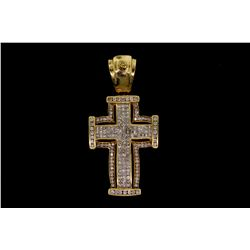 "PENDANT: [1] Ladys 14ky ""invisible"" set diamond cross pendant; 102 sq prin dias, 1.3mm = est 1.53ctt"