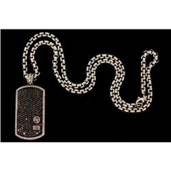 PENDANT AND CHAIN: [1] David Yurman Design sterling silver and diamond dog tag and chain. Dog tag se