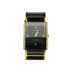 WATCH: [1] Midsize yellow plated & black ceramic Rado Integral Jubilee diamond wristwatch; black dia