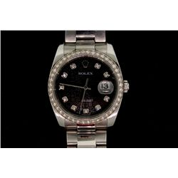 WATCH: [1] Gents stainless steel and dia Rolex DateJust 36mm case, black Jubilee diamond dial, white