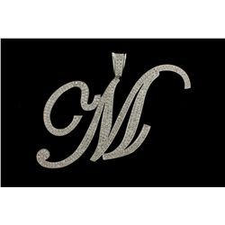 PENDANT: [1] Mens 14kw initial  M  pave diamond pendant; 492 rb dias, 1.7mm to 2.2mm = est 14.76cttw