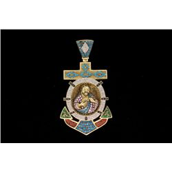 PENDANT:  [1] 10KYG Mariners cross pendant set with 92 rd dias, est. 1.84 cttw, Good, I-K, SI2-I1, 4